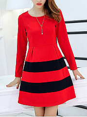 Round Neck Color Block Striped Skater Dress