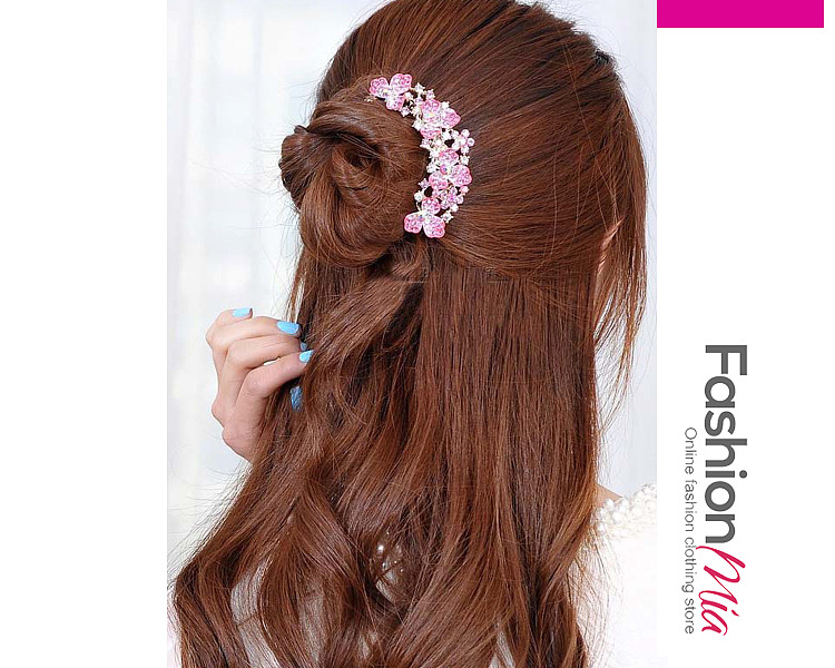 Image of Floral Rhinestone Hair Comb