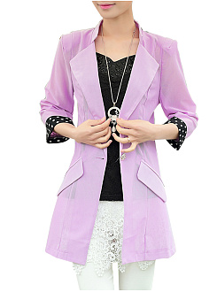 Lapel  Single Button  Plain  Half Sleeve Blazers