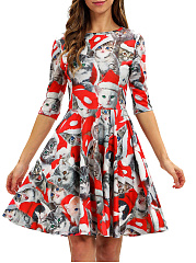 Round Neck  Cartoon Printed Skater Dress