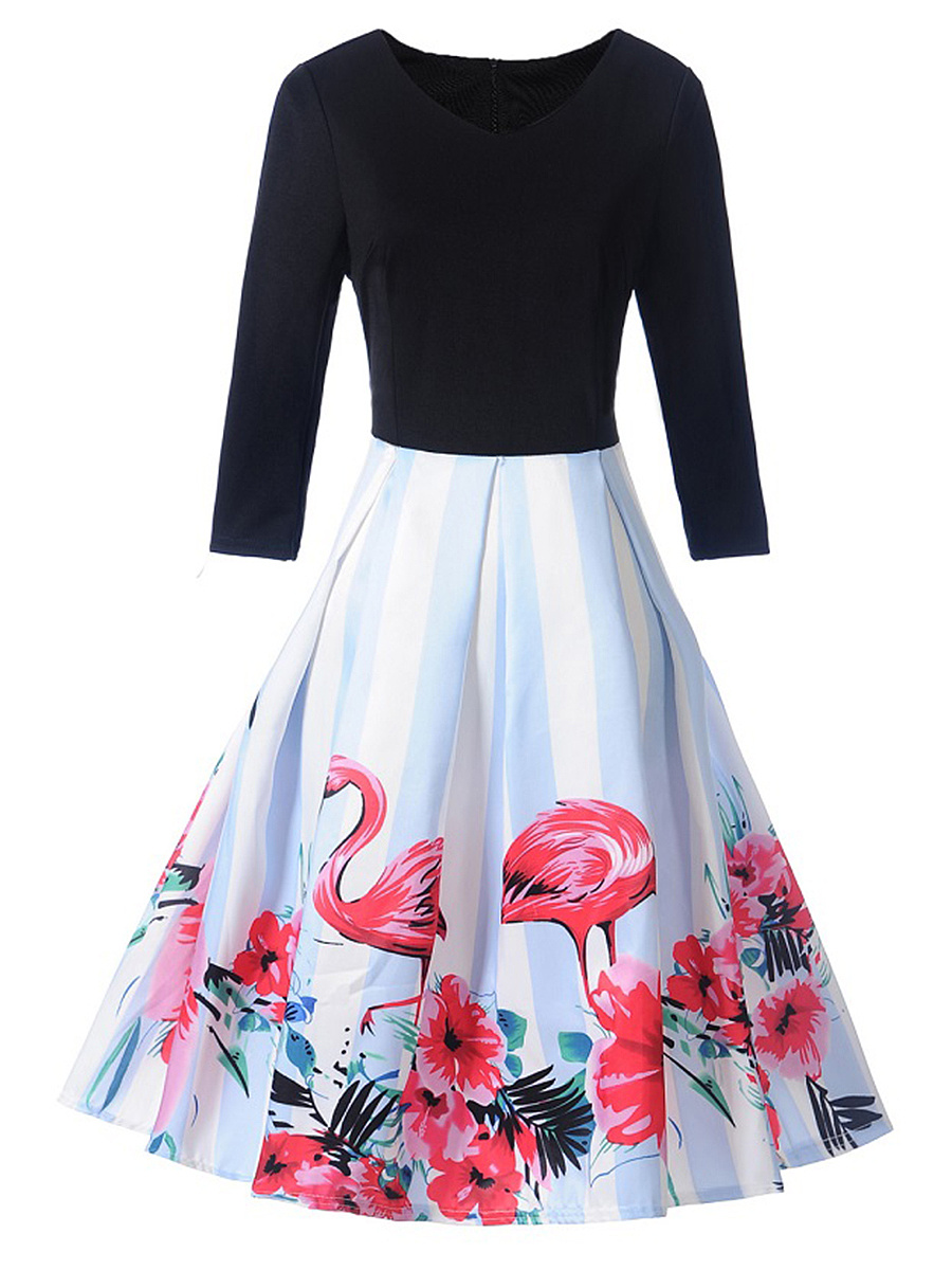 V-Neck Flamingo Floral Printed Skater Dress