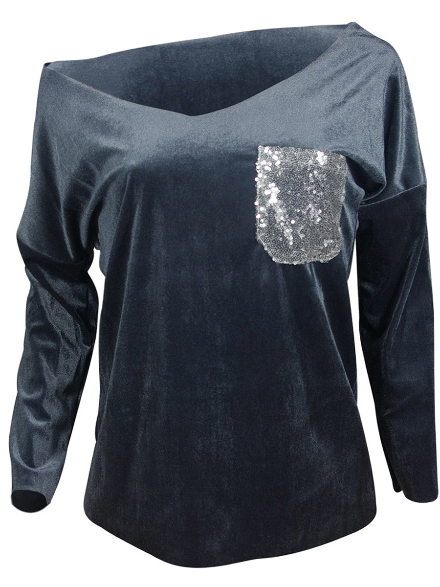 One Shoulder Glitter Patch Pocket Long Sleeve T-Shirt
