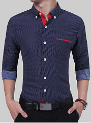 Polka-Dot-Button-Down-Collar-Men-Shirts