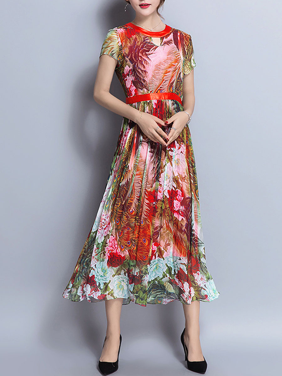 Colorful Floral Printed Round Neck Chiffon Maxi Dress