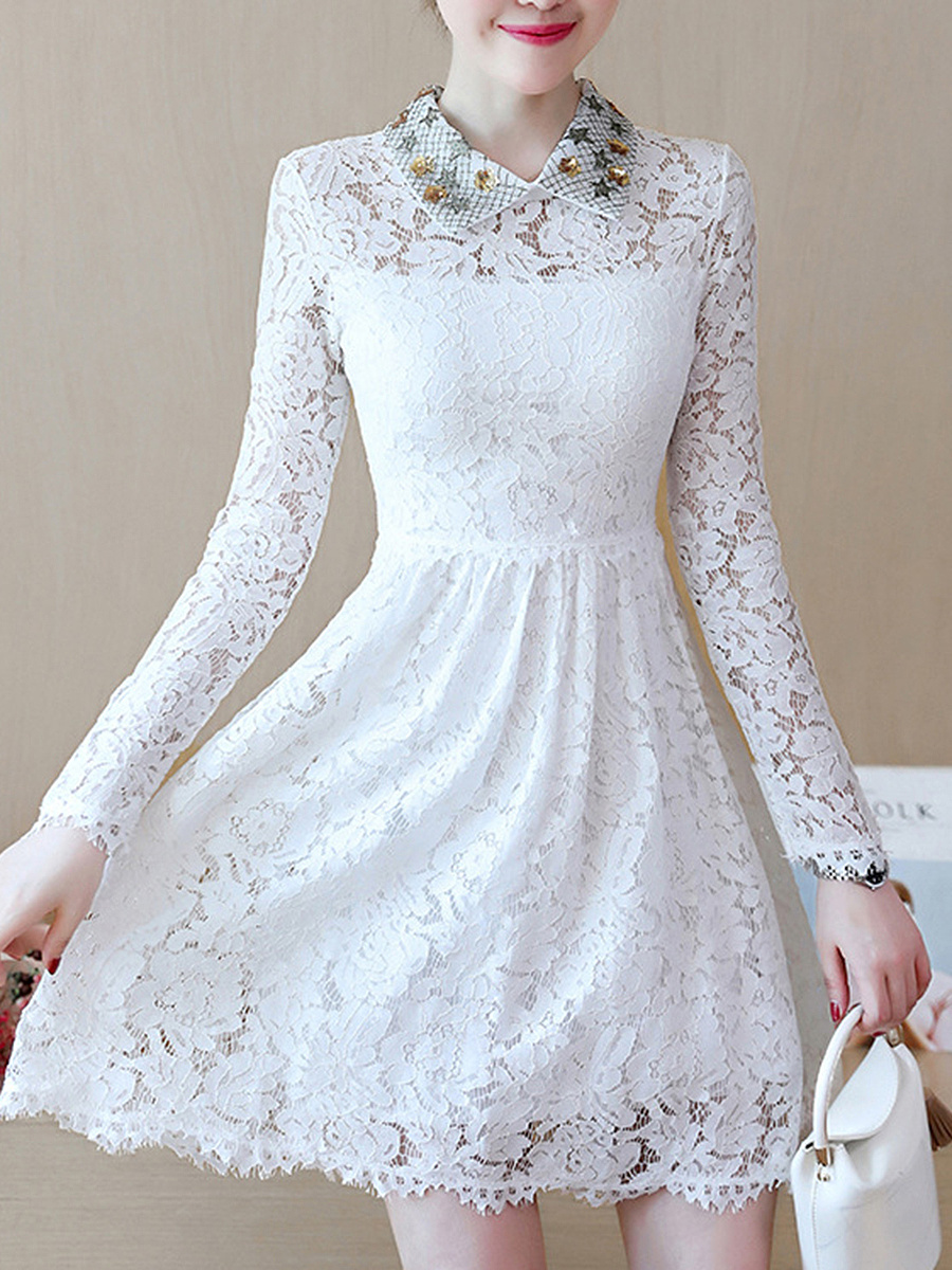 Doll Collar Hollow Out Plain Lace Skater Dress