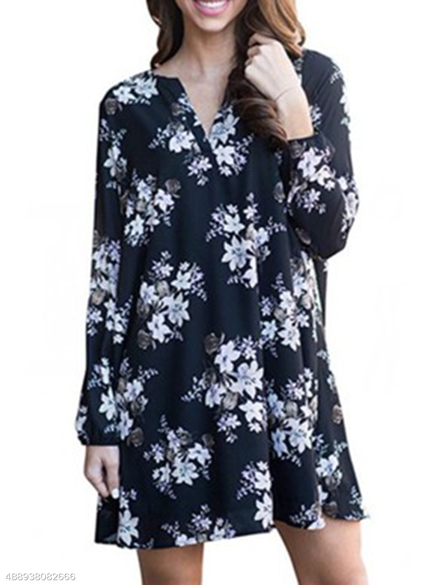 Split Neck  Printed Fashion Shift Dress
