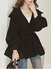 Belt  Plain  Puff Sleeve  Long Sleeve Trench Coats