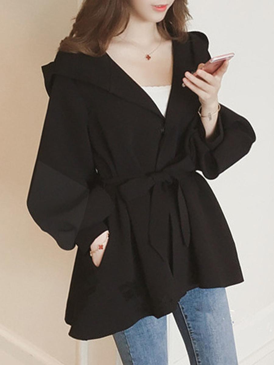 Belt  Plain  Puff Sleeve  Long Sleeve Trench Coats