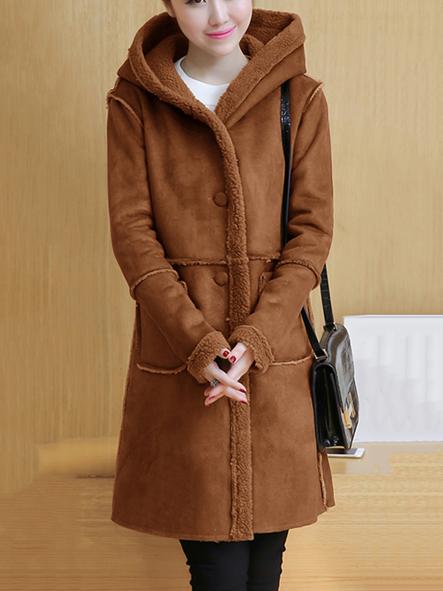 Hooded Patch Pocket Plain Fleece Lined Coat