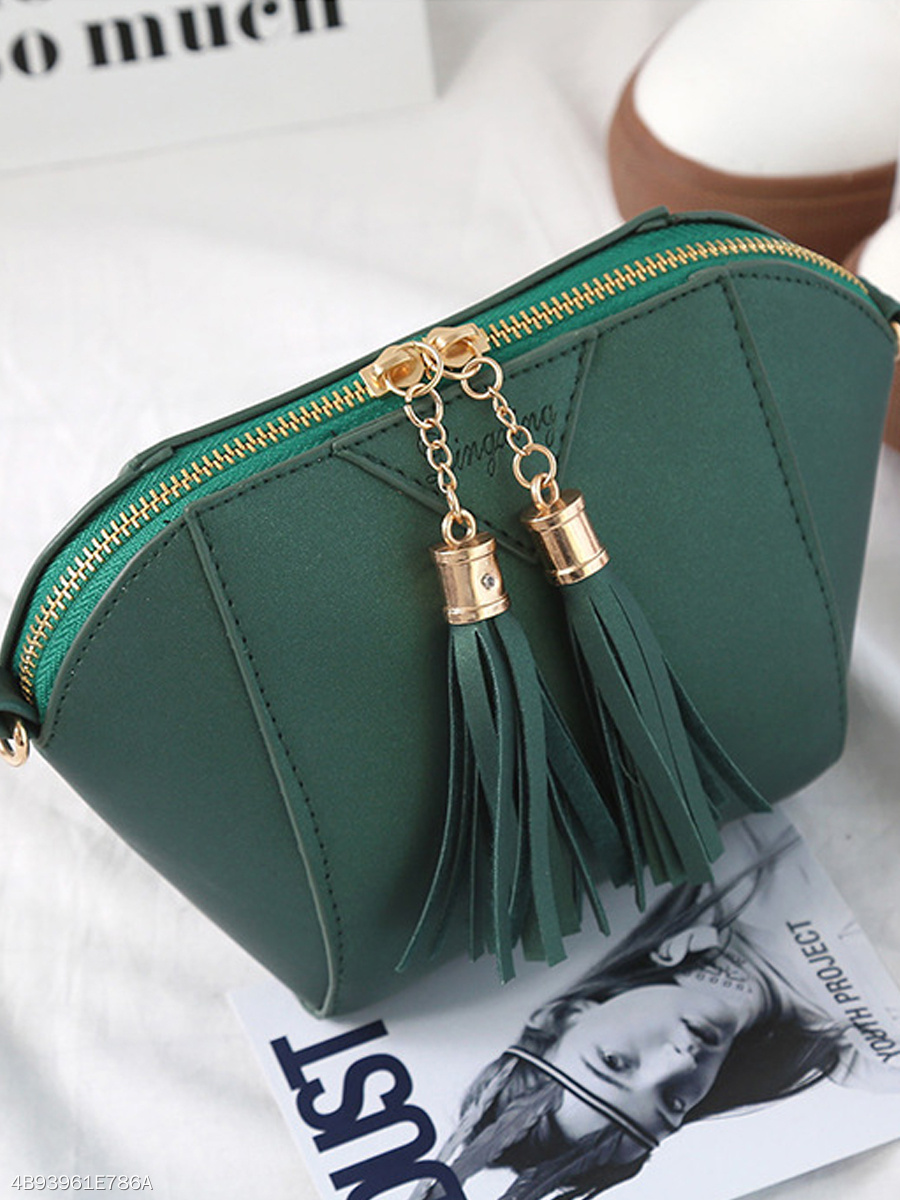 Pu Shell Bag Tassel Crossbody Bag