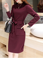 Crew Neck  Flap Pocket  Belt  Plain  Bodycon Dress