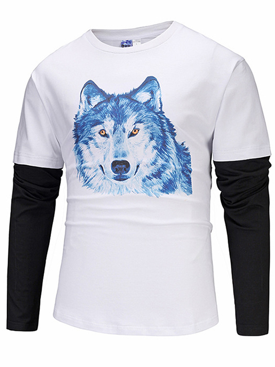 Color Block Wolf Printed Men T-Shirt
