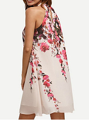 Open Shoulder  Floral Hollow Out Printed Exquisite Shift Dress