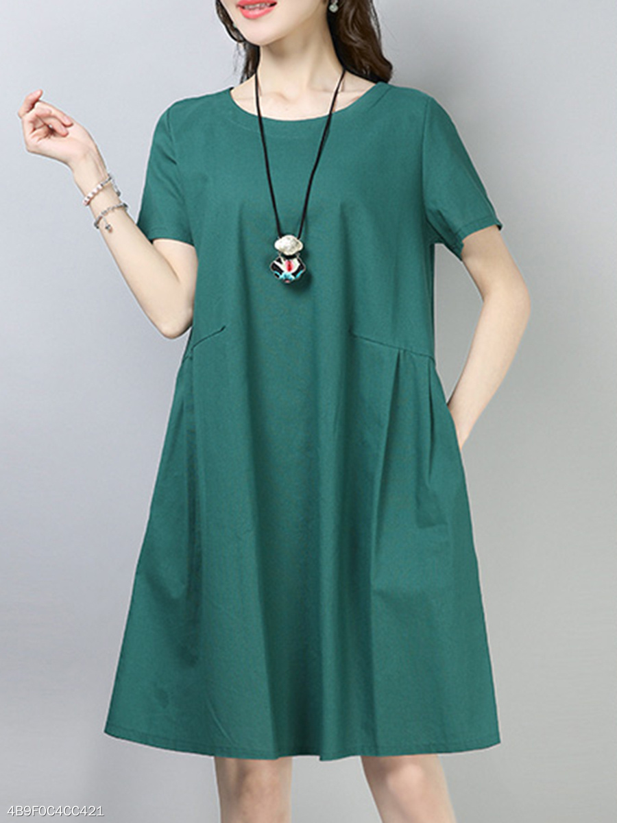 Plain Round Neck Midi Shift Dress