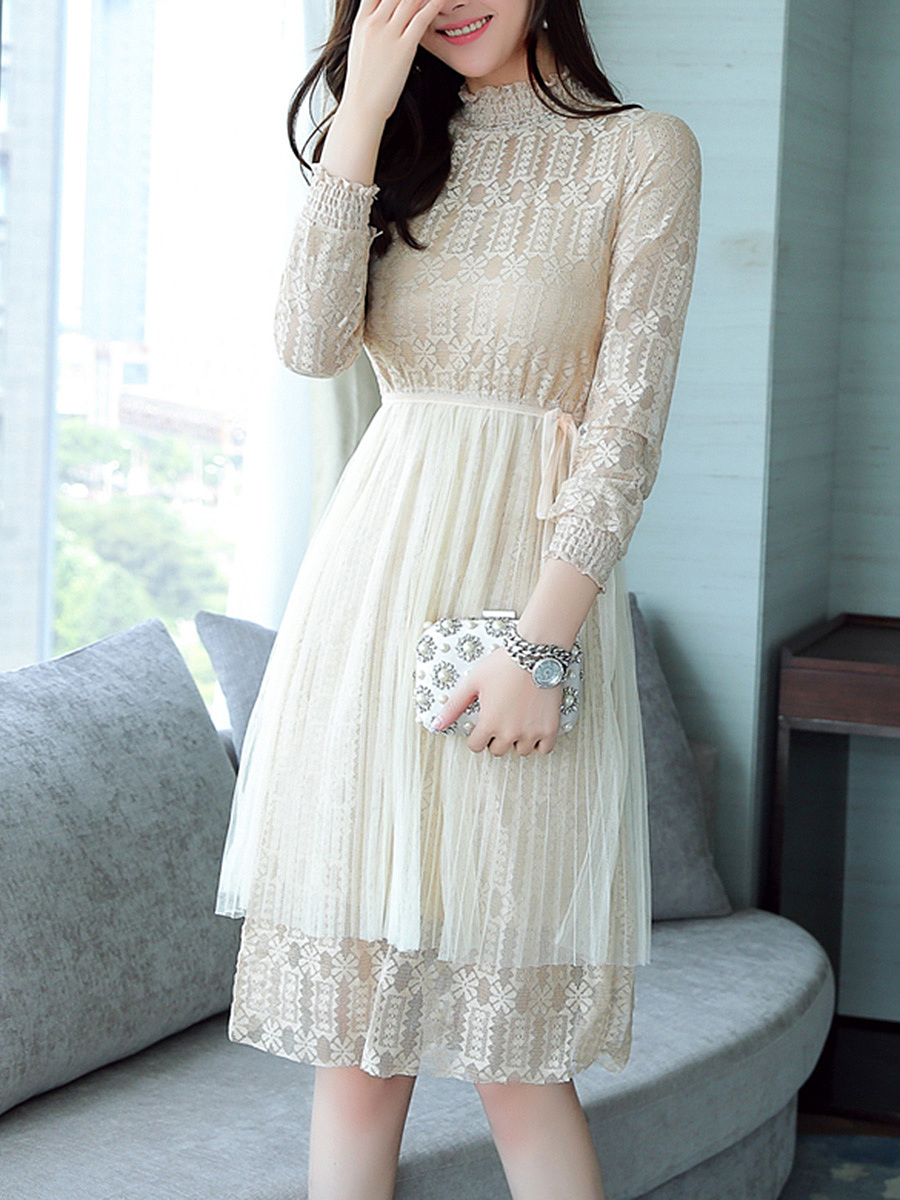 High Neck See-Through Plain Lace Skater Dress