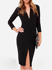 V Neck  Slit  Plain Bodycon Dress