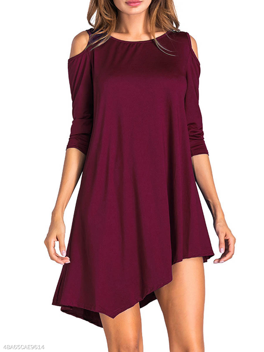 Open Shoulder  Asymmetric Hem  Plain Shift Dress
