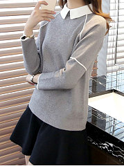 Turn Down Collar  Patchwork  Plain  Long Sleeve Pullover