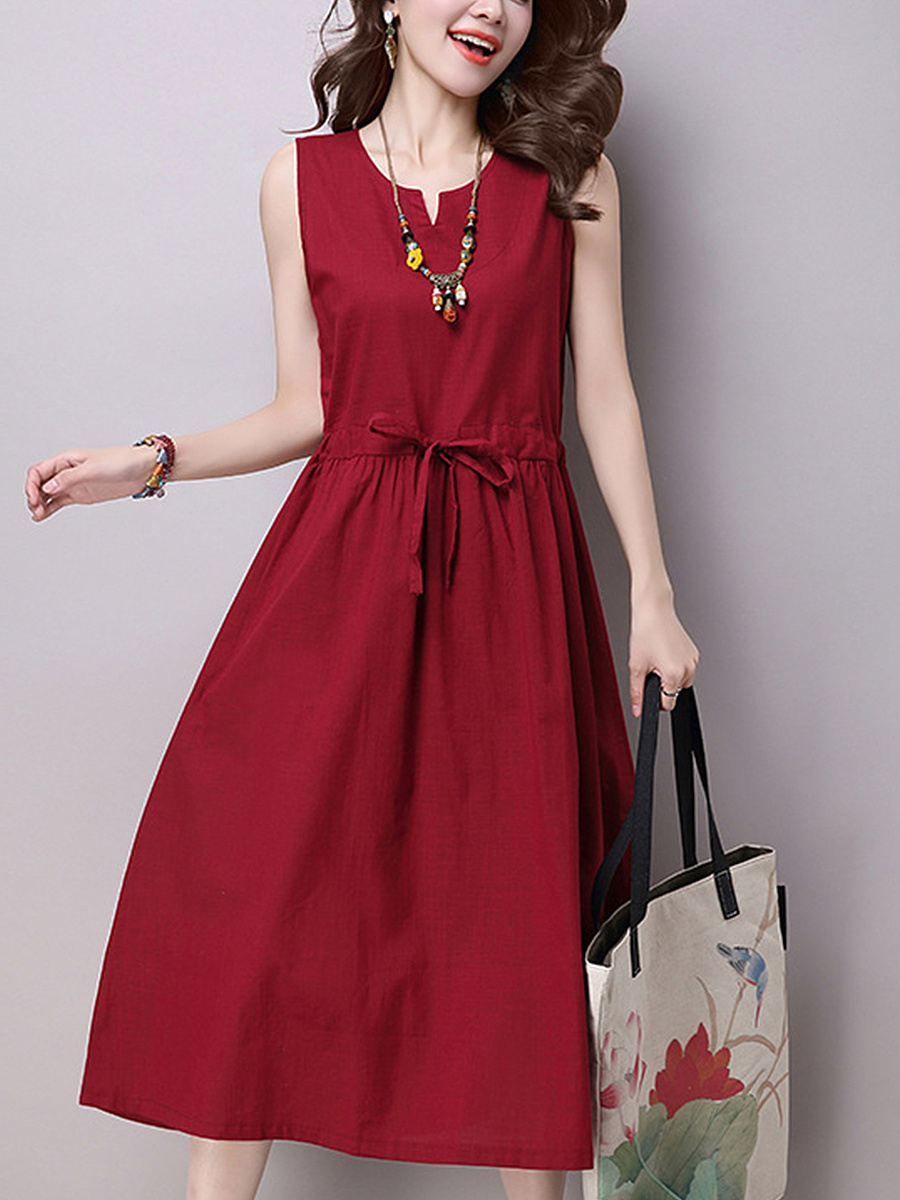 Split Neck  Drawstring Solid Maxi Dress