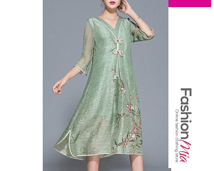 V-Neck Floral Hollow Out Pocket Maxi Dress 4BC5E6B2A4B4