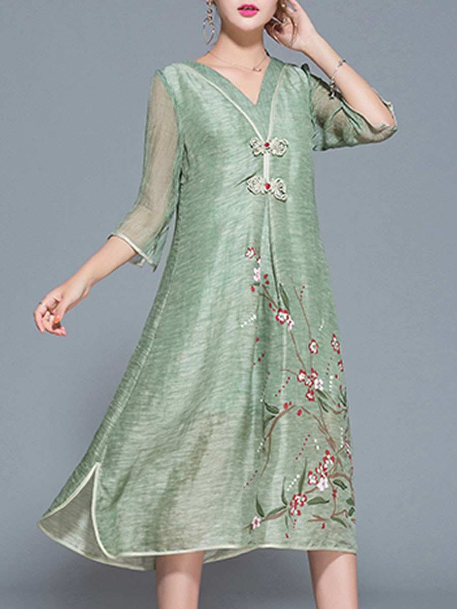 V-Neck Floral Hollow Out Pocket Maxi Dress