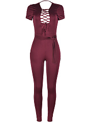 Sexy Designed Lace-Up Hollow Out Plain Slim-Leg Jumpsuit