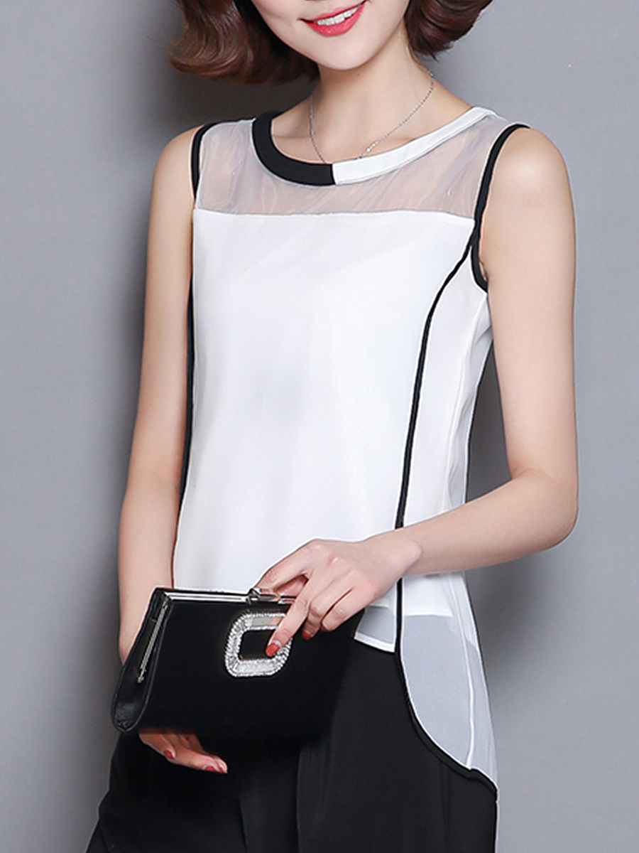 Contrast Trim See-Through Sleeveless T-Shirt