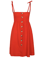 Spaghetti Strap Smocked Bodice Plain Skater Dress