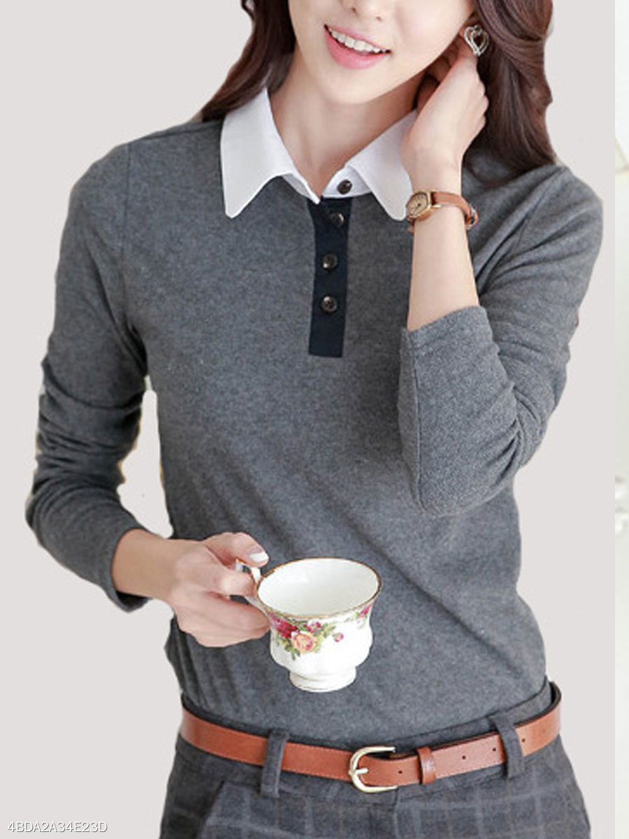 Autumn Spring  Polyester  Women  Turn Down Collar  Patchwork  Decorative Button  Plain Long Sleeve T-Shirts