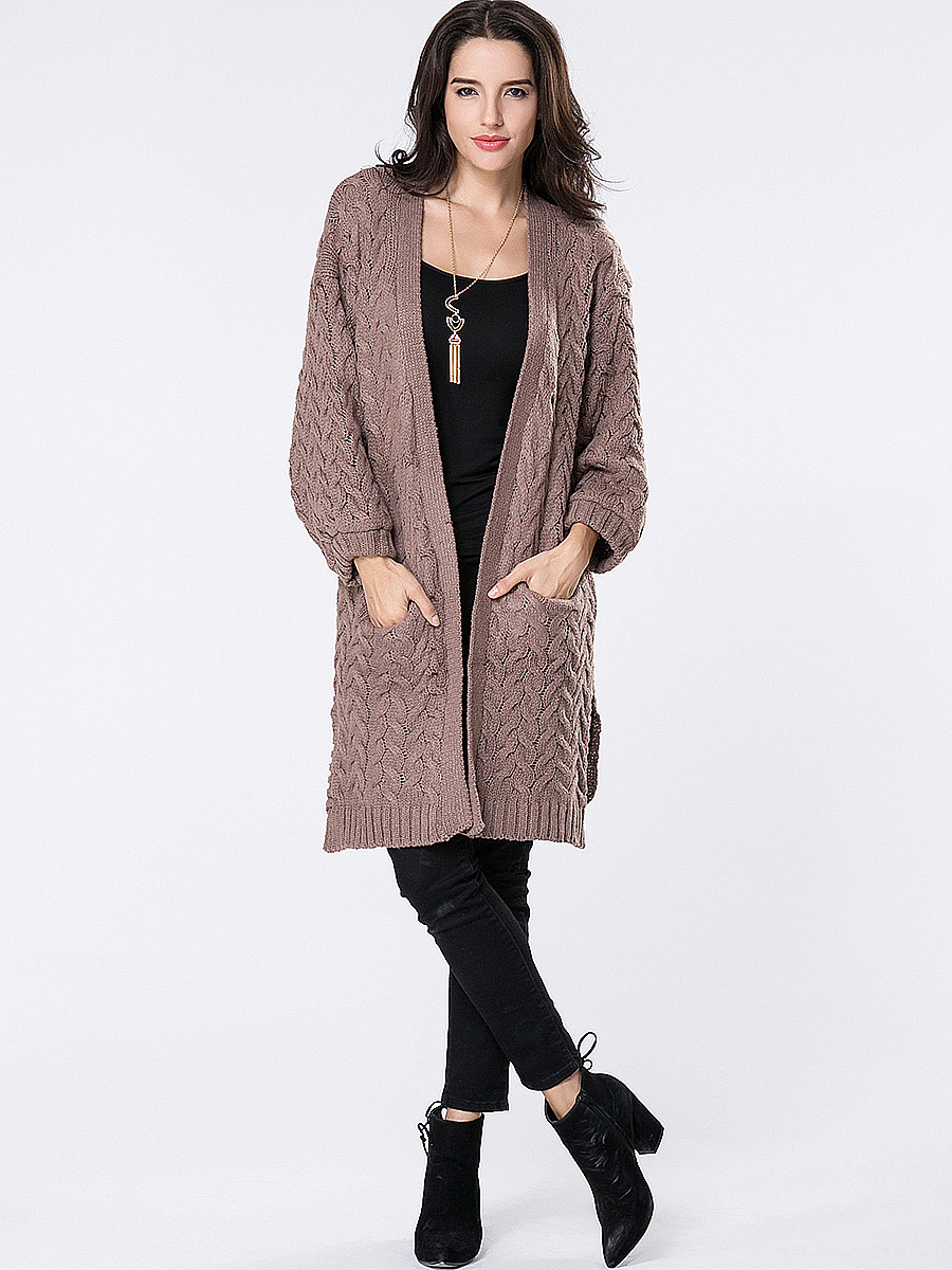Collarless Slit Pocket Cable Stitch Plain Cardigan
