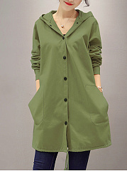 Hooded  Plain Printed  Long Sleeve Trench Coats