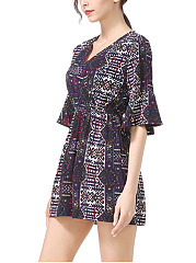V-Neck Elastic Waist Pocket Printed Wide-Leg Romper