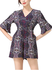 V-Neck-Elastic-Waist-Pocket-Printed-Wide-Leg-Romper