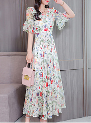 Round Neck  Flounce  Floral Printed  Bell Sleeve Maxi Dress