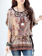 Round Neck  Printed  Batwing Sleeve Tunic