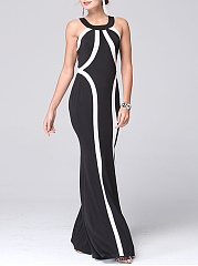 Round Neck  Color Block Mermaid Maxi Dress