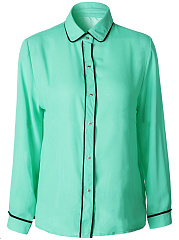 Turn Down Collar Contrast Trim Chiffon Blouse