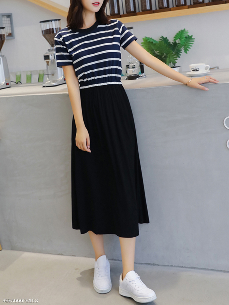 Round Neck  Elastic Waist  Striped Maxi Dress