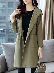 Double Breasted Drawstring  Plain  Long Sleeve Trench Coats