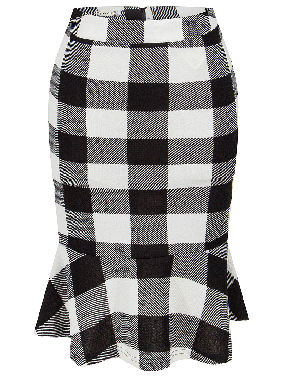 Plaid  Mermaid Midi Skirt