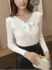 Tie Collar Bowknot Plain Knitted Long Sleeve T-Shirt