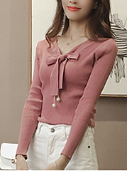 Tie-Collar-Bowknot-Plain-Knitted-Long-Sleeve-T-Shirt