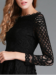 Round Neck Lace Hollow Out Plain Maxi Dress