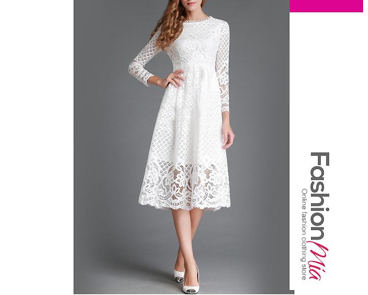 Summer Round Neck Lace Hollow Out Plain Maxi Dress 4C2C865B0DEE