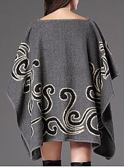 Boat Neck Printed Cape Sleeve Sweater