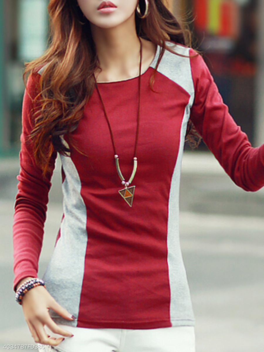 Autumn Spring Summer  Cotton  Women  Round Neck  Color Block Plain  Long Sleeve Long Sleeve T-Shirts