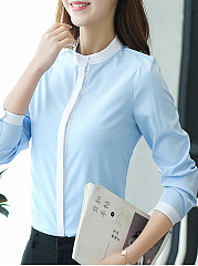 Autumn Spring  Polyester  Women  High Neck  Single Breasted  Contrast Piping  Plain  Long Sleeve Blouses