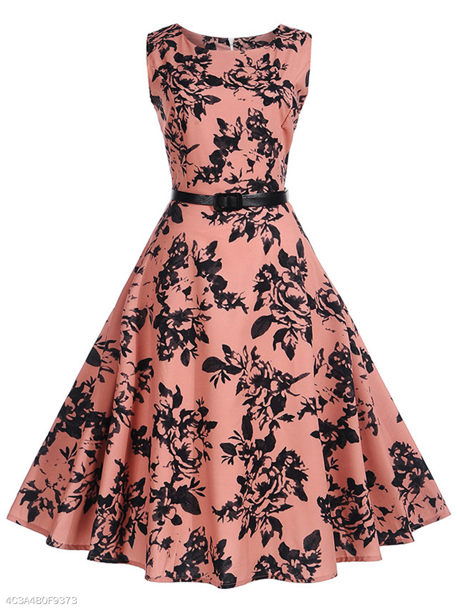 Attractive Round Neck Belt Printed Skater Dress