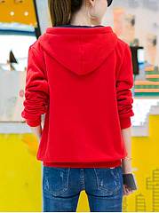 Kangaroo Pocket Color Block Embroidery Hoodie
