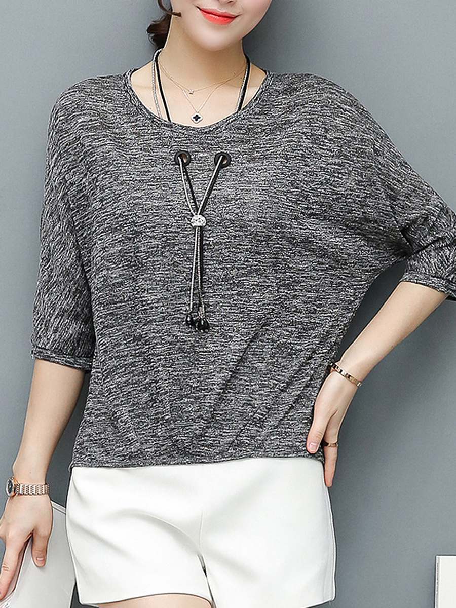 Round Neck Necklace Batwing Sleeve T-Shirt